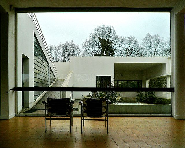 "Le Corbusier - Villa Savoye Garden view from living room "" the plan proceeds from within to without"" Design the interior first, do not just place windows where you need it."