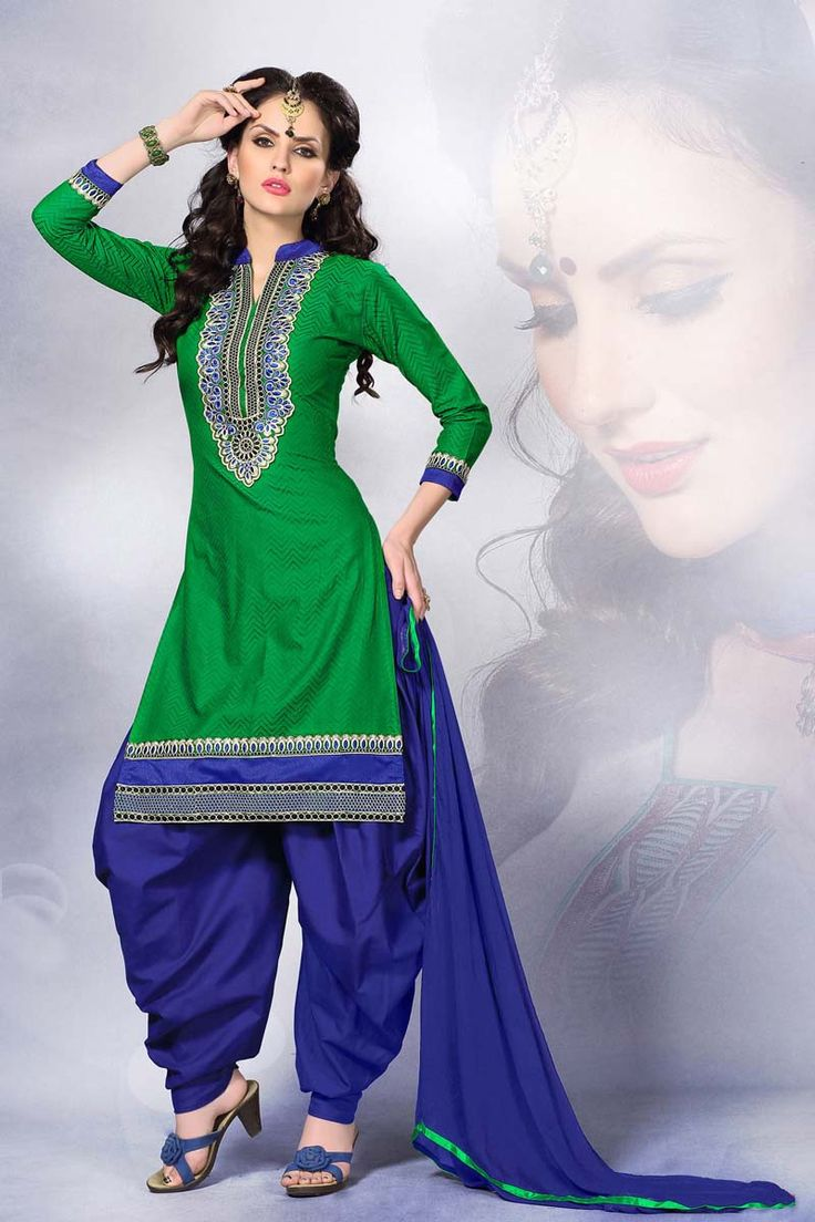 Green Cotton Punjabi Suit