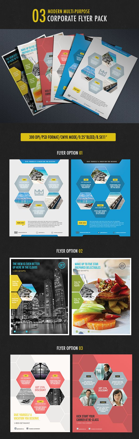 Business Flyer by Design District, via Behance, maybe do diamonds instead of hexagons, to match the website?