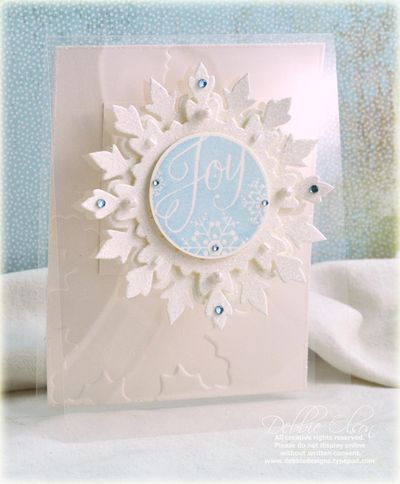 Joy card by Debbie Olson for Papertrey Ink (October 2011).: Ink Cards, Christmas Cards, Cards Christmas Snowflakes, Cards Inspirations, Papertrey Ink, Cards Snowflake, Cardstock Ink, Snowflake Cards