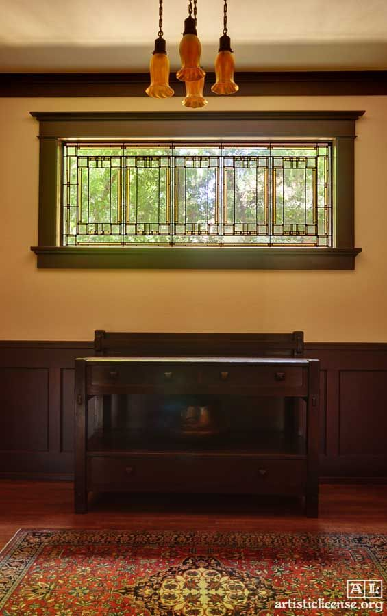 Prairie School leaded glass window - Theodore Ellison Designs