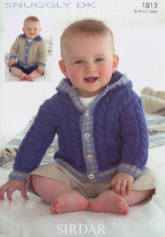 Boys Collared or Hooded Jacket, Sirdar 1813, Knitting Pattern,DK ...