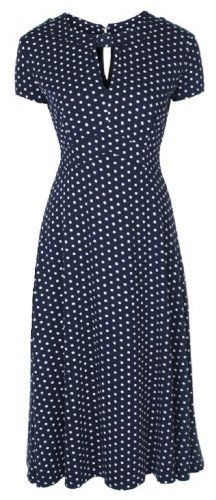 Lindy Bop 'Juliet' Classy Blue Polka Dot Vintage WW2 Landgirl 1940s 1950s Pinup Retro Tea Dress