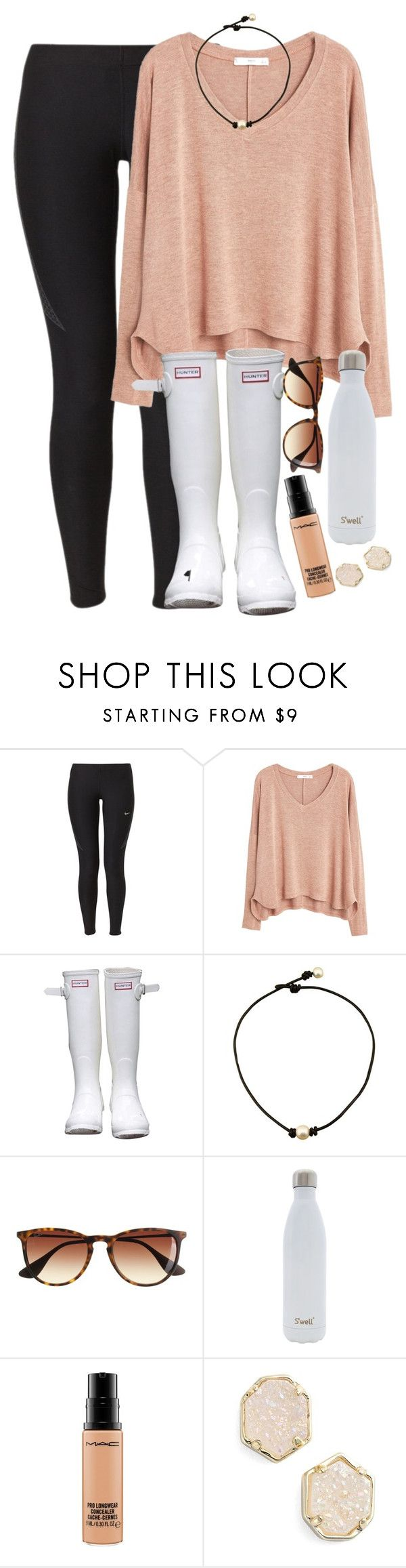 """gah so scared what even jeez louise"" by elizabethannee ❤ liked on Polyvore featuring NIKE, MANGO, Hunter, J.Crew, S'well, MAC Cosmetics, Kendra Scott, women's clothing, women's fashion and women"
