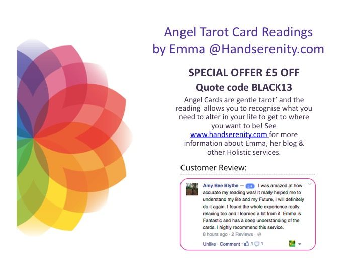 #CyberMonday £5 off #AngelTarotReadings via Phone, Email (will need location & any questions you have sent over) or in-Person #angeltarot emma@handserenity.com ends 30th Dec 2016.