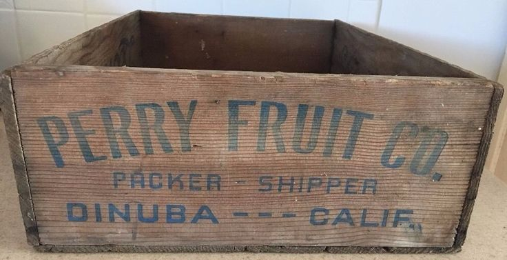 Antique Wooden State Flower Perry Fruit Company Shipping Crate Dinuba CA Leonard #PerryFruitCompany