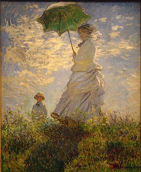 Monet, La passeggiata (Camille Monet con il figlio Jean sulla collina), 1875, olio su tela, National Gallery, Washington