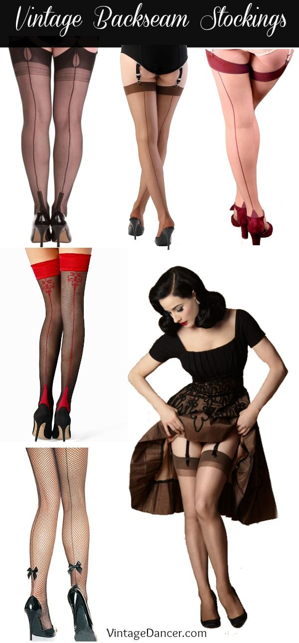 Shop vintage backseam stockings, nylons, tights, thigh highs in black, nude, or fishnet with cuban heels. Many are full fashioned at VintageDancer.com