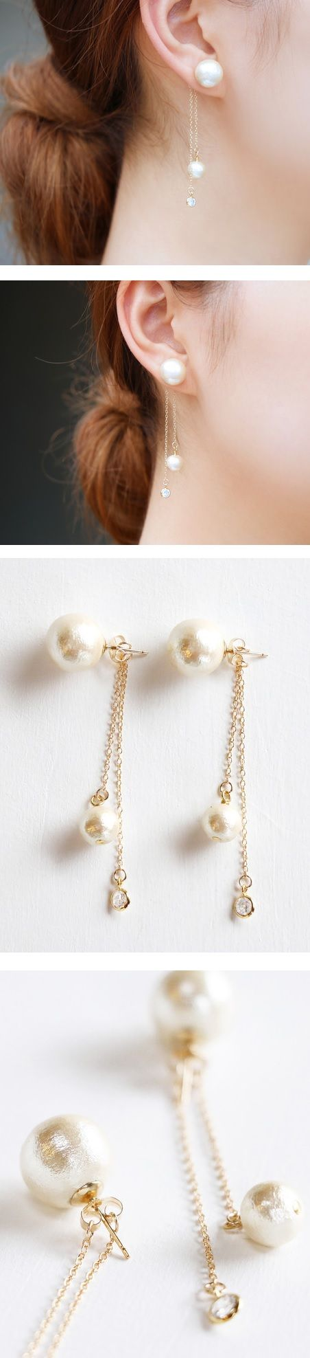 Idea for pretty pearl ear-rings - love the dangling chain tails! :D