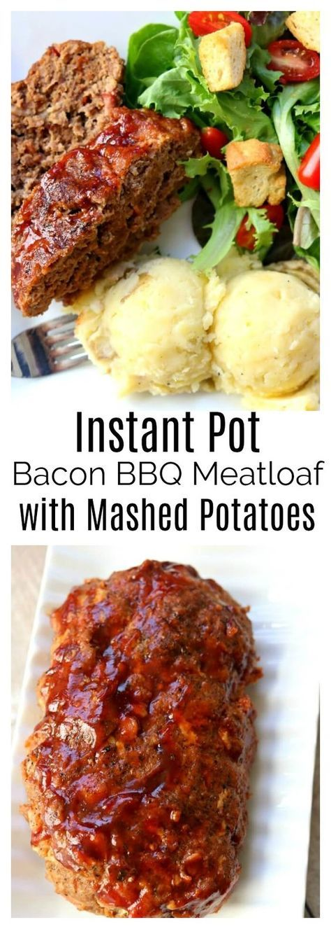 Instant Pot Bacon Barbecue Meatloaf with Mashed Potatoes–the best flavored meatloaf ever is cooked at the same time and in the same pressure cooker as your mashed potatoes. Add a tossed salad and you have a complete meal ready to go in just a few minutes.