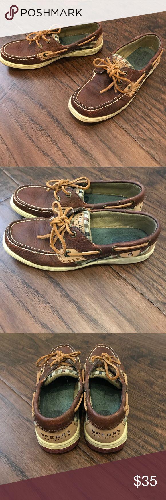 Dark brown /plaid sperry boat shoes USED Brown Sperry Boat Shoes. No box Sperry Shoes Flats & Loafers