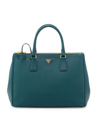 Saffiano Double-Zip Executive Tote Bag, Teal (Ottanio) by Prada at Bergdorf Goodman.