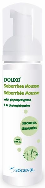 Douxo Seborrhea Mousse (6.8 oz)  with phytosphingosine, is a no-bathing leave-on Mousse that makes treating your pet an enjoyable experience. Phytosphingosine is a new molecule in veterinary dermatology. It is a natural occuring molecule found in the outermost layer of our skin. Phytosphingosine has some very unique properties. It is anti-inflammatory, anti-bacterial, anti-fungal, and controls excess sebum (oils), and crusting or scaling of the skin.