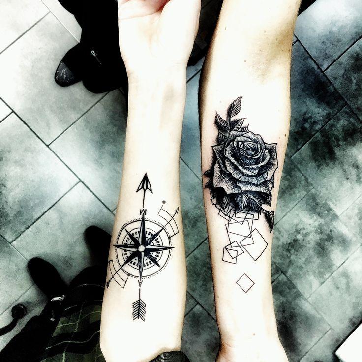 Tatuaże Róża i Róża Wiatru
