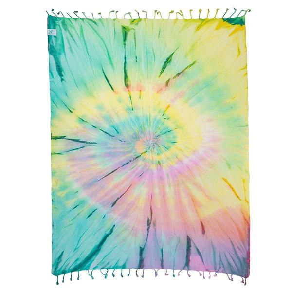 """This Tie-Dye Beach Towel will be the grooviest towel at any beach, festival, or park. This towel is the definition of """"Peace, Love, and Good Vibes."""" With its radical patterns you are totally ready to kick back and have a great time!"""