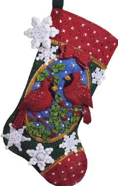 Bucilla Cardinals Felt Christmas Stocking Kit