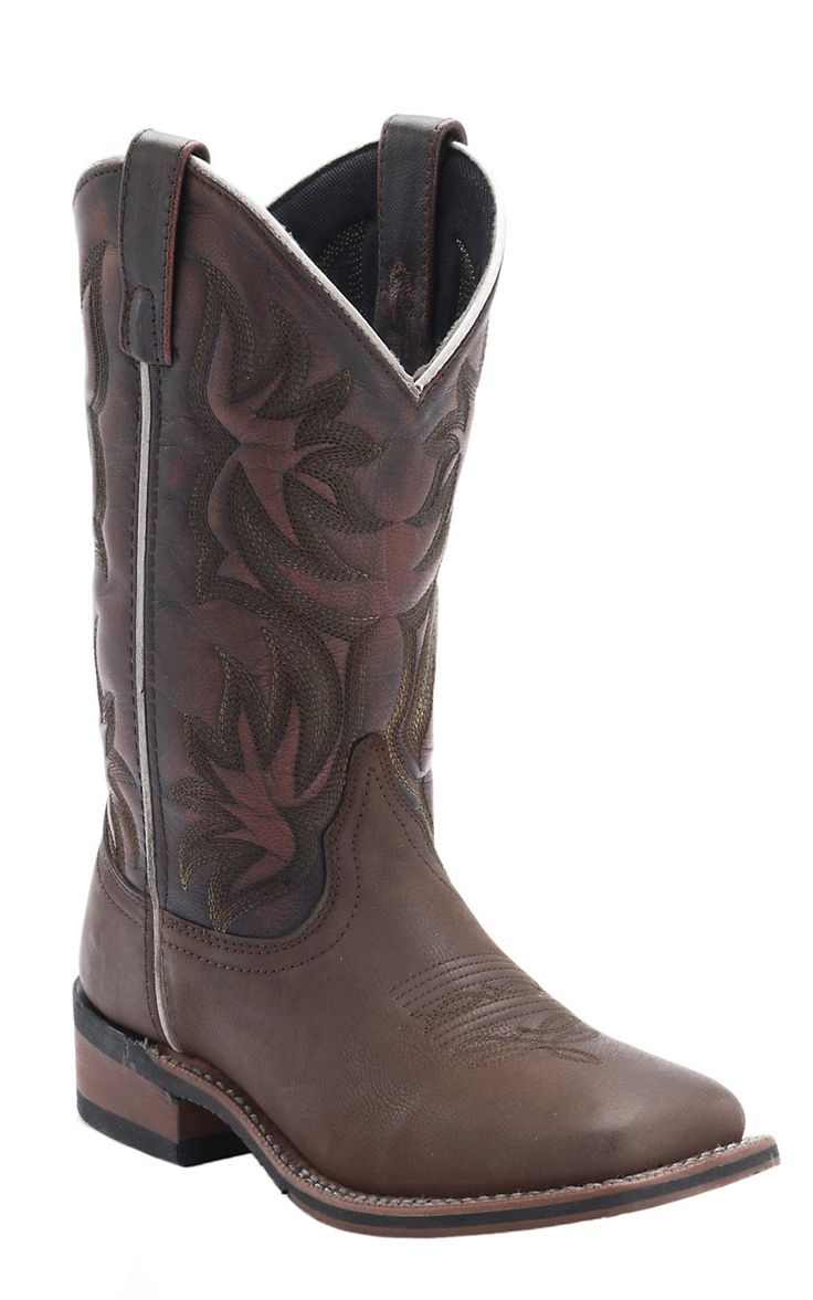 Laredo Women's Dark Brown with Sanded Red Top Cowboy Approved Square Toe Western Boots