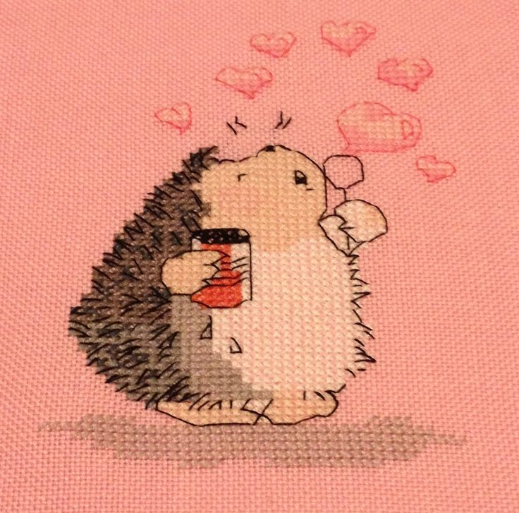 Finished cross stitch, Bubbles of Love by Margaret sherry