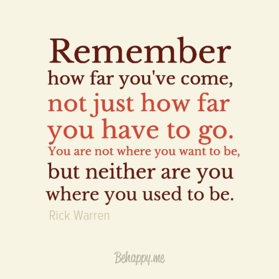 """Canvas """"Remember how far you've come"""" by Rick Warren #30885 - Behappy.me"""