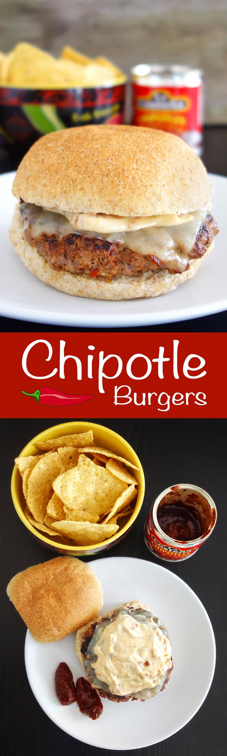 This chipotle burger recipe features the spicy, smokey chipotle pepper. Yes that's a pepper, not just a giant burrito. Topped with chipotle aioli!