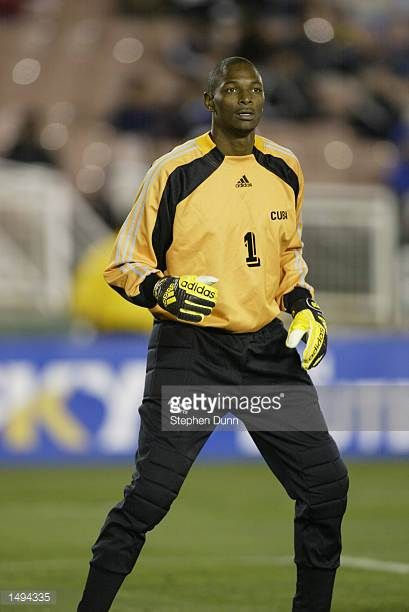 Odelin Medina goalkeeper for Cuba in their first round CONCACAF Gold Cup match at the Rose Bowl in Pasadena California The final score was South...
