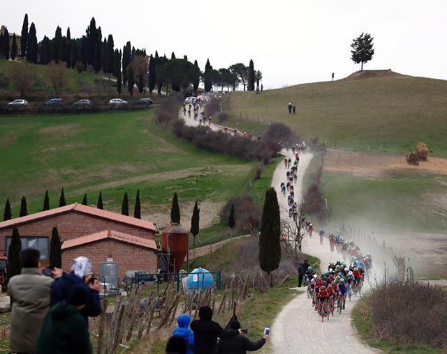 source instagram treksegafredo  Who's excited for Saturday? We probably won't see any kind of dust kicked up this year @strade_bianche with snow on the roads two days ago and the weather forecast calling for rain. It is looking to be an epic day! 📷 @bettiniphoto  #goandtakeit #showyourstripes #stradebianche #namedsport #italy #whitegravel 📷 @kramon_velophoto  treksegafredo  2018/03/02 03:14:59