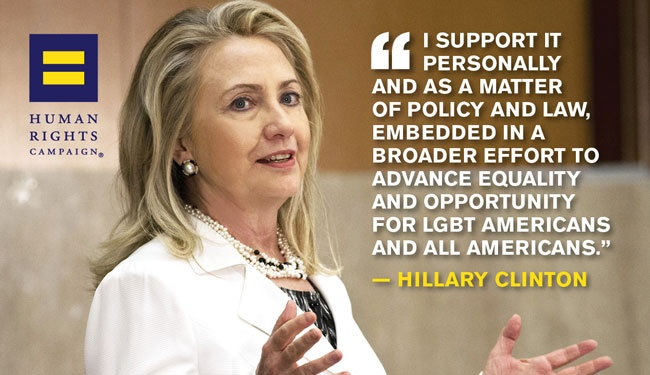 Hillary Clinton Supports LGBT Human Rights Campaign