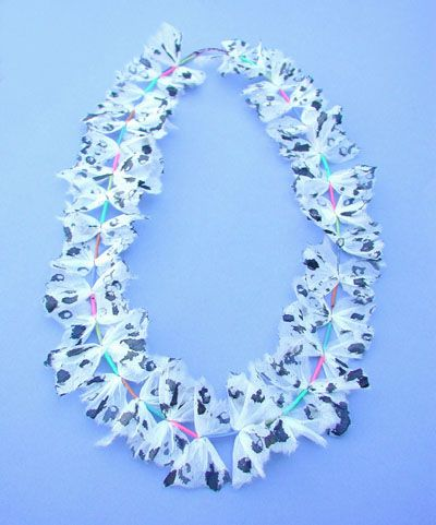 "Eila Minkkinen ~""Butterflies"" silk paper, acrylic, copper wire #necklace, 2007."