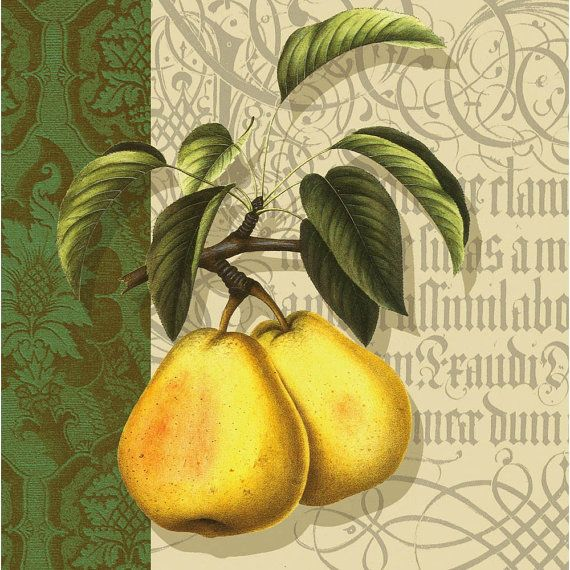 Elegant French Cottage Garden Yellow Pears Paper Napkins by YWart