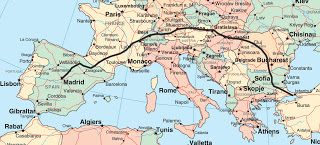 Mapa de Italia a Estambul
