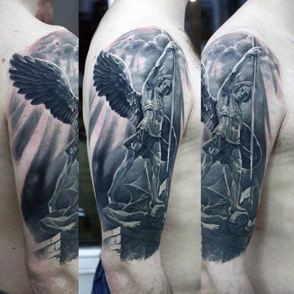 3d Guardian Angel Tattoo Mens Arms
