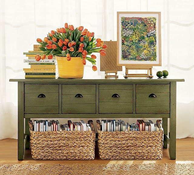 Love the baskets of books, fun way to keep my favorite books in a room without cluttering every flat surface.