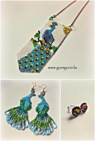 delica peyote peacock pendant, peacock earrings, swarovski chaton earrings