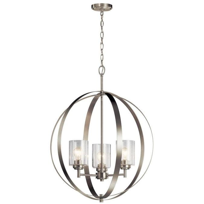Kichler Winslow 3 Light Brushed Nickel Modern Contemporary Cage Chandelier Lowes Com In 2021 3 Light Chandelier Globe Chandelier Brushed Nickel Chandelier 3 light chandelier brushed nickel