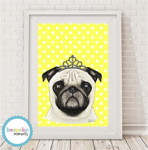 Pug Princess Print by Bespoke Moments. Worldwide Shipping  Available.