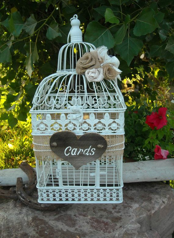 Wedding bird cage card holder rustic card holder large for Bird themed bathroom accessories