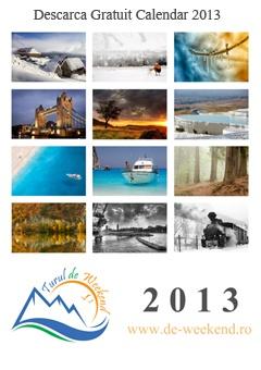 Dupa un 2012 plin de toate cele, m-am gandit sa fac un Calendar 2013 cu fotografii din calatoriile noastre  Calendarul este in format A3 (de perete), are 80 de mega si il puteti descarca gratuit.     http://de-weekend.ro