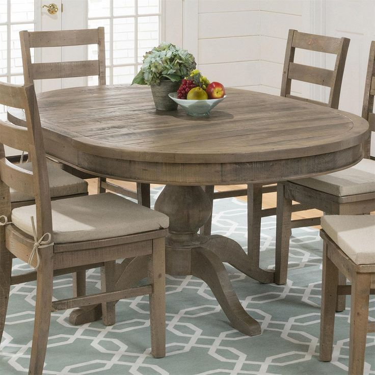 Jofran 941-66 Slater Mill Pine Reclaimed Pine Round to Oval Dining Table