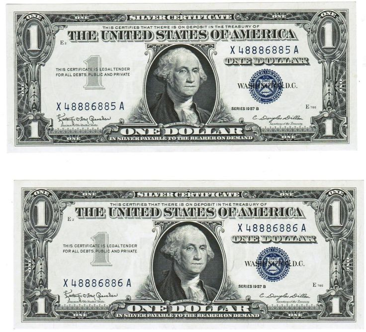 Two sequential uncirculated 1957B $1 Silver Certificates (Blue Seal ...