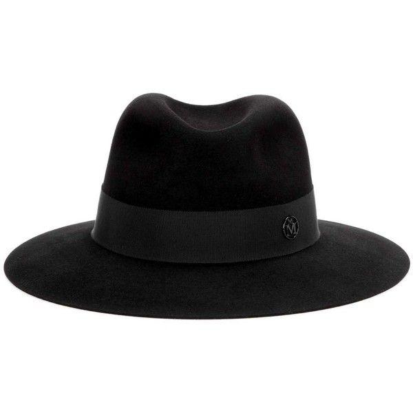 Maison Michel Henrietta Rabbit-Felt Fedora ($650) ❤ liked on Polyvore featuring accessories, hats, black, felt hats, fedora hat, maison michel, maison michel hat and rabbit felt hat