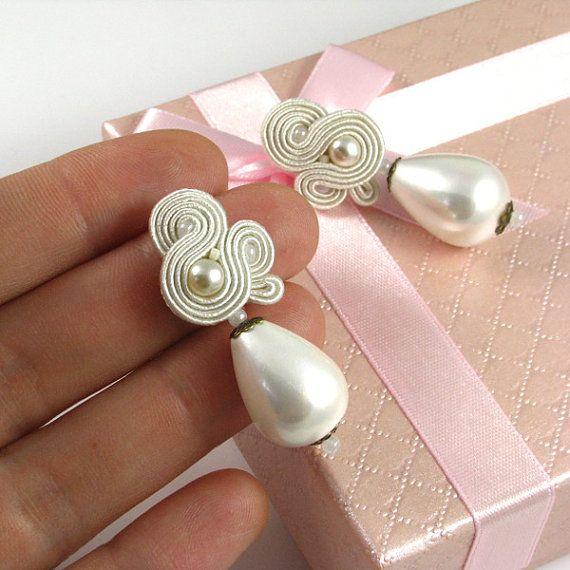 Ivory pearls wedding earrings dangle soutache stud earrings.