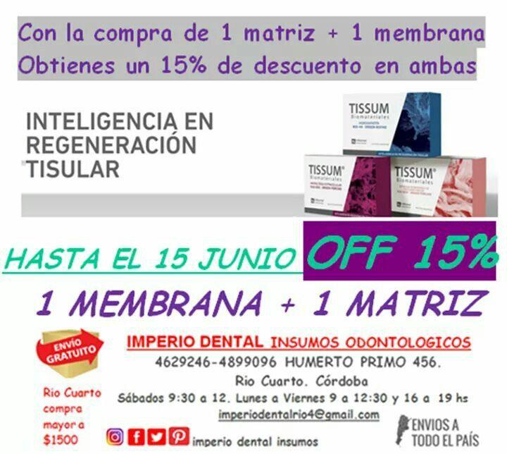15% de descuento en la compra de 1 membrana + 1 matriz tissum
