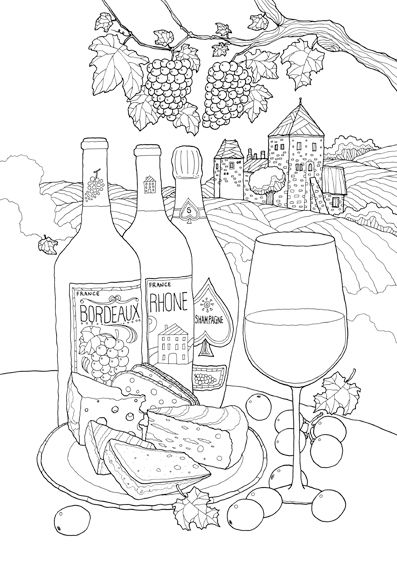 coloring pages wine food animals people | 17 Best images about Food-Related Mandala/Coloring pages ...