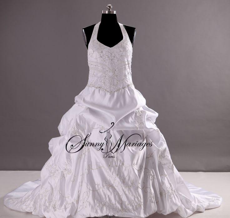 robe de mariee princesse en satin avec broderie argentée et jupe avec effet bouillonnant robe de mariage grandes tailles possibles