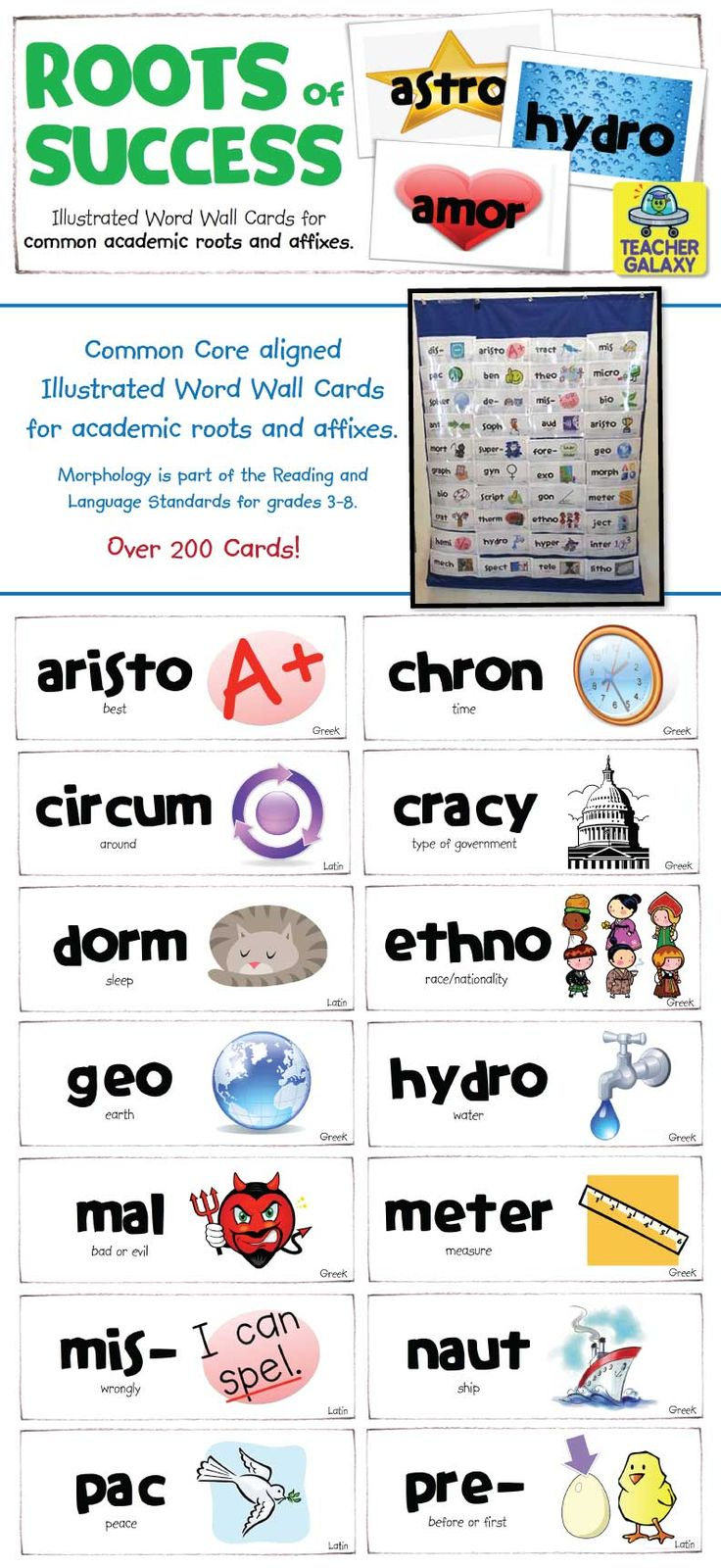 The Common Core Standards for grades 3 through 8 require students to be able to use knowledge of roots and affixes to determine the meaning of unknown words. This easy to use collection of colorfully illustrated word wall cards will help them do just that! There are over 200 cards illustrating the meaning of the most common roots, stems, and prefixes found in academic texts. The cards are designed for maximum visibility: simple borders, bold type, and high contrast pictures.