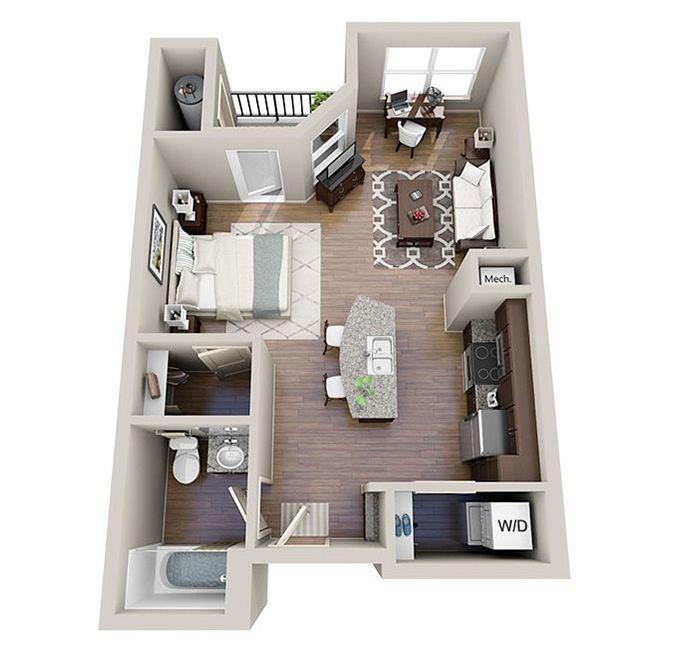 Premium countertops, hardwood floors, and comfortable room sizes make even these small studios feel like luxury accommodations.