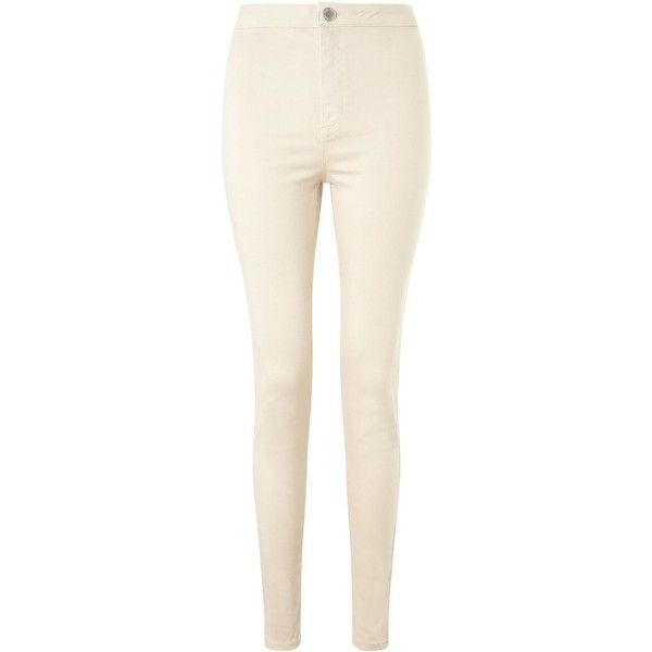 Miss Selfridge Steffi Ecru Jean ($48) ❤ liked on Polyvore featuring jeans, ecru, women, high waisted jeans, pink jeans, high rise skinny jeans, highwaist jeans and pink skinny jeans