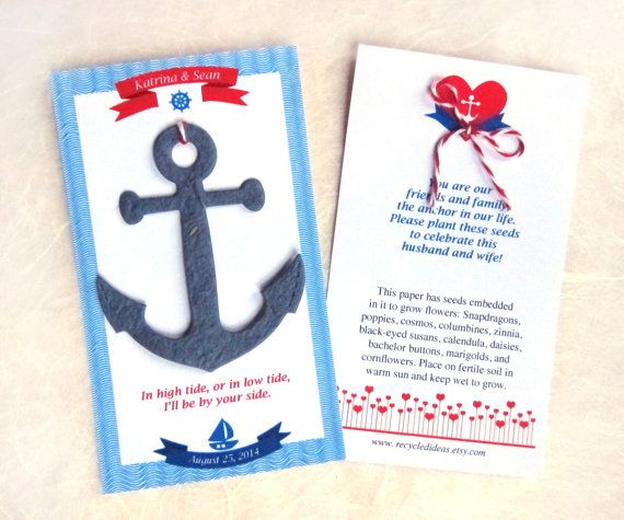 35 Seed Paper Anchors Nautical Wedding Favors by recycledideas