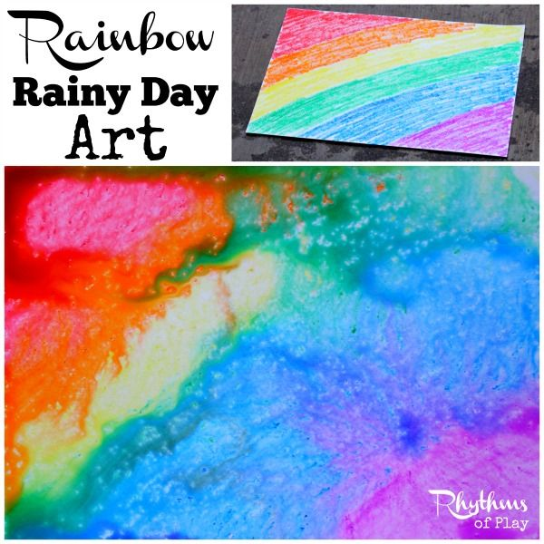 Rainbow rainy day art STEAM activity for kids.