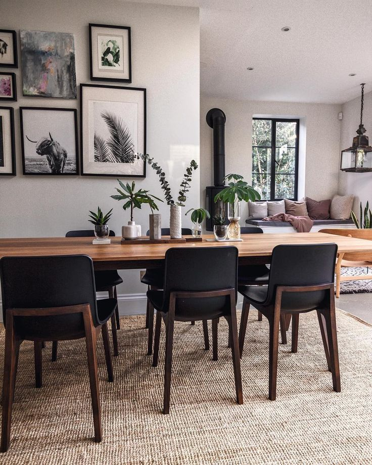 Open Plan Kitchen Diner With Seating Area Walnut Dining Table And